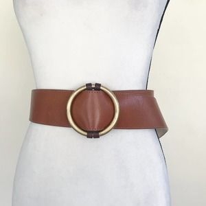 St. John Brown Leather Gold Buckle Belt L